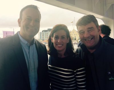 Hildegarde Naughton with Leo Varadkar and Peter Heffernan