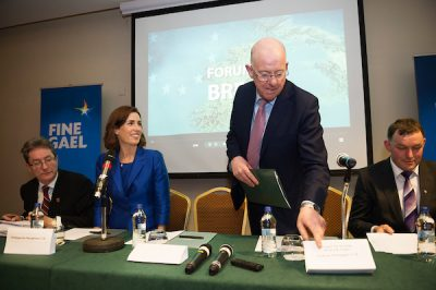 Charlie flanagan discussing brexit in Galway
